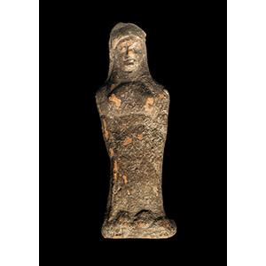 Terracotta statuette of a kore in Daedalic ...