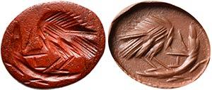 Intaglio romano in diaspro rosso. Volatile ...