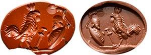 Intaglio romano in diaspro rosso. Gallo con ...