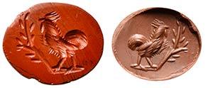 Intaglio romano in diaspro rosso. Gallo. Il ...