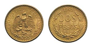 Mexico, AV 2 Pesos 1945, Mexico City (13mm, ...