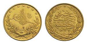 Turkey, Mehmed V Rashad (1909-1918). AV 100 ...