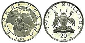 Uganda, AR 20 Shillings 1969 (50mm, 40.33g, ...