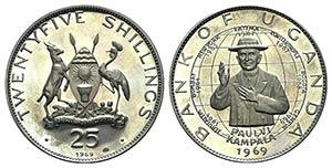 Uganda, AR 25 Shillings 1969 (55mm, 50.33g, ...