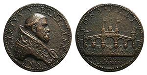 Papal, Sisto V (1585-1590). Æ Medal 1589 ...
