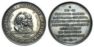 Papal, Pio IX (1846-1878). AR Medal 1867 ...