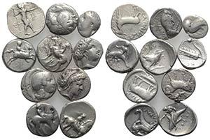 Magna Graecia, lot of 10 AR coins, to be ...