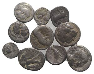 Magna Graecia, lot of 10 AR Fractions, to be ...
