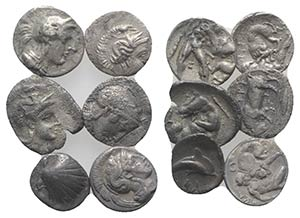 Magna Graecia, lot of 6 AR Fractions, to be ...