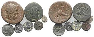 Magna Graecia, lot of 7 AR and Æ coins, to ...