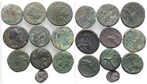 Magna Graecia, Apulia, lot of 10 AR and Æ ...