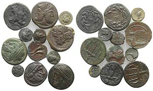 Sicily, lot of 12 Æ Greek coins, to be ...
