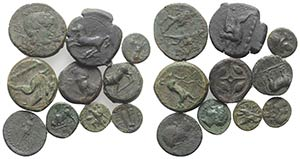 Sicily, lot of 10 Æ Greek coins, to be ...