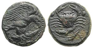 Sicily, Akragas, c. 425-406 BC. Æ Hexas ...