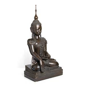 GRANDE BUDDHA IN BRONZO Birmania o Laos, XX ...