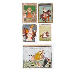 CINQUE MINIATURE India, XIX secolo  35 x 28 ...