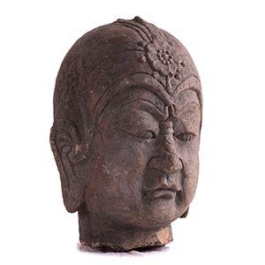 A LARGE STONE HEAD OF A LOKAPALA China, Tang ...