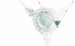 Emerald necklace   18K white gold necklace, ...