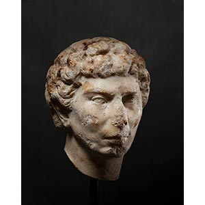 ROMAN MARBLE PORTRAIT OF A YOUNG ...