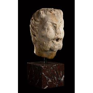 ROMAN MARBLE HEAD OF A FAUN 1st century AD ...