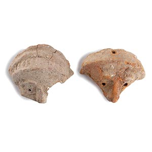 COUPLE OF RARE PHOENICIAN CLAY MASKS 9th - ...