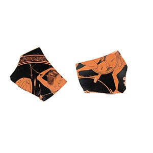 ATTIC RED-FIGURE KYLIX FRAGMENT Attributed ...