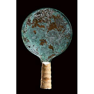 ETRUSCAN BRONZE MIRROR WITH HANDLE 4th ...