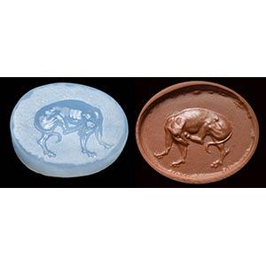 A fine greek scaraboid seal in blue ...