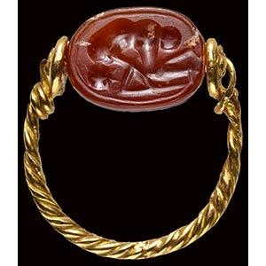 An etruscan carnelian scarab intaglio  ...