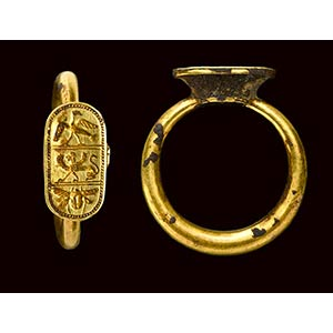 An etruscan gold ring with engraved bezel. ...