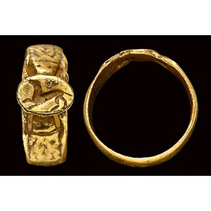 An etruscan gold ring with engraved ...