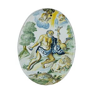 Tavoletta  Oval tablet in polychrome ...