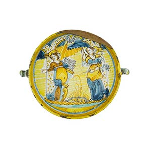 Bowl  Bowl with two elaborate handles. ...