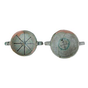 Two Bowls  Two carinated bowls with ring ...