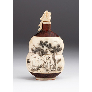 Engraved fisherman, ivory and wood snuff ...