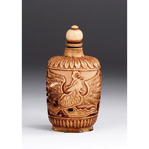Carved phoenix, Ivory snuff bottle; XX ...