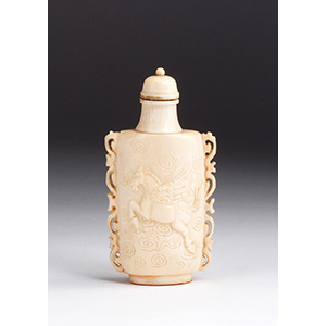 Carved flying horse, Ivory snuff bottle; XX ...