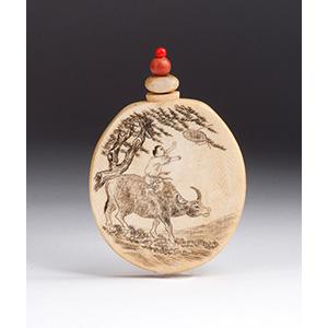 Engraved boy and buffalo, Ivory snuff ...