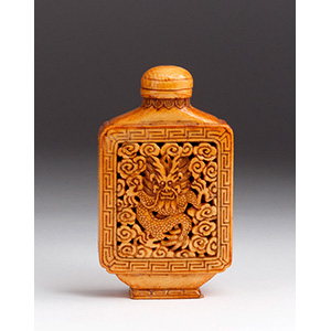 Carved dragon, Ivory snuff bottle; XX ...