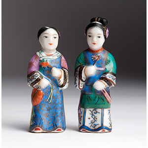 Two painted ladies porcelain snuff ...