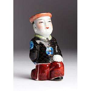 Painted man porcelain snuff bottle; XX ...