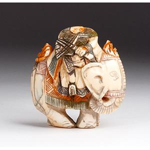 Carved elephant, Ivory snuff bottle; XX ...