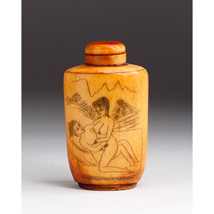 Engraved erotic subject, Ivory snuff ...