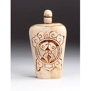 Carved double fishes, Bone snuff bottle; XX ...