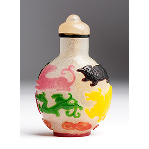 Four colors overlay glass snuff bottle; XIX ...