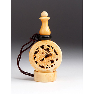 Carved dragon, Ivory and wood snuff bottle; ...