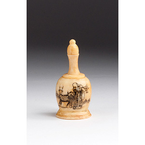 Engraved Luohan, Ivory snuff bottle; XX ...