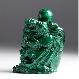 Carved malachite snuff bottle; XX Century; ...