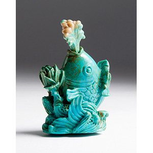 Carved turquoise fish snuff bottle; XX ...