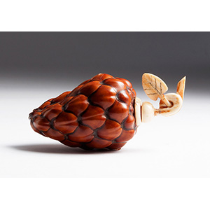 Pinecone and Ivory snuff bottle; XX Century; ...